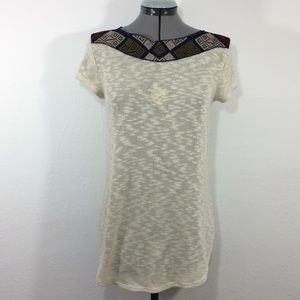 Ecote Tops - UO Ecoté cream knit boho w/embroidered collar top